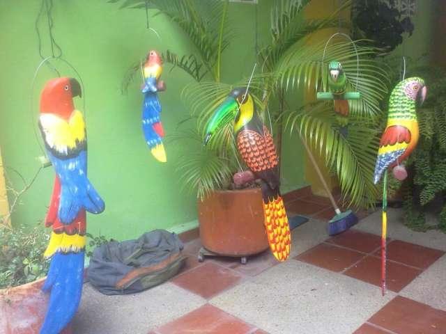 Fotos de Guacamayas, tucanes, loros y cactuas en madera en Bogotá, Colombia