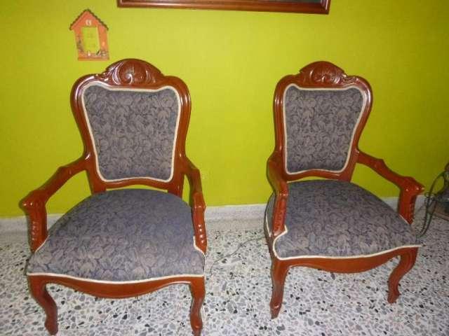 Juego de sala en madera usado en Medellín, Colombia - Muebles
