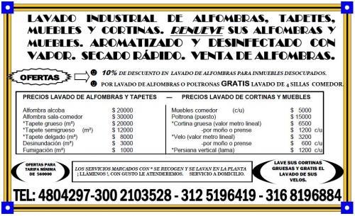 4804297-lavado de alfombras, tapetes, muebles y cortinas. bogotá. acintop