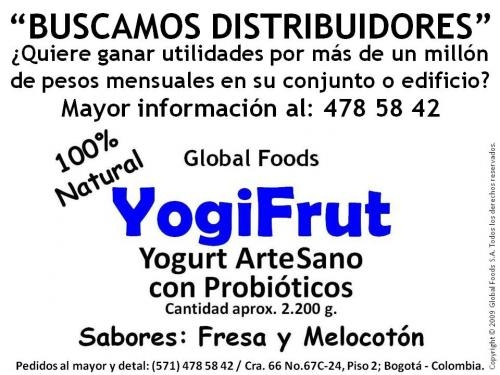 """Buscamos distribuidores para nuestro yogurt artesano """"yogifrut"""""""