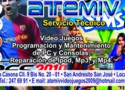 ATEMIV SERVICIO TECNICO VIDEO JUEGOS IPOD MP4 PC