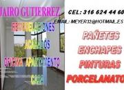 OFREZCO SERVICIO DE INSTALACION DE ENCHAPES,PINTURA, PAÑETE,PORCELANATO