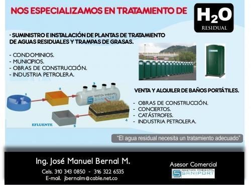 Plantas de tratamiento de agua residual y baños portatiles