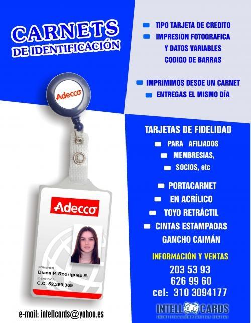 Carnets de identificacion y tarjetas de fidelidad