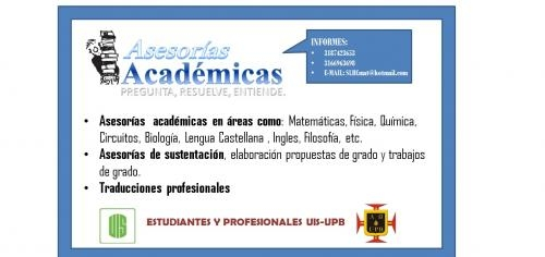 Asesorías academias, clases, tutorías, trabajos, tesis