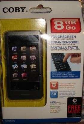 Reproductor mp3 coby 8gb expandible (microsd) pantalla tactil...