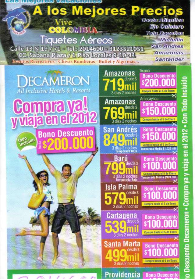 Grandes promociones para que viajes por toda colombia