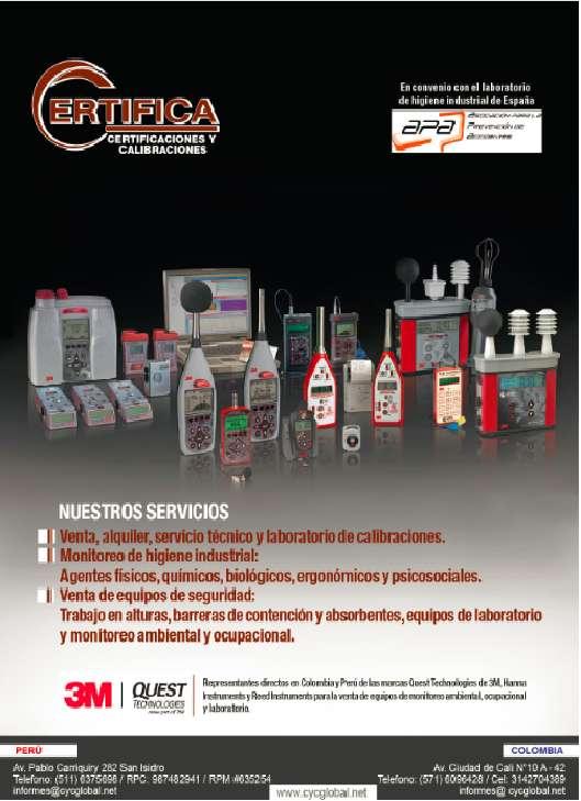 Venta, alquiler, mantenimiento y laboratorio de calibraciones de equipos de medición