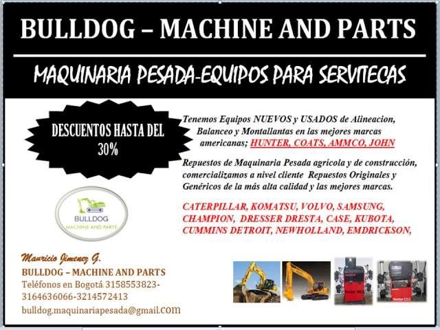 Maquinaria, suministros, accesorios y repuestos para maquinaria pesada