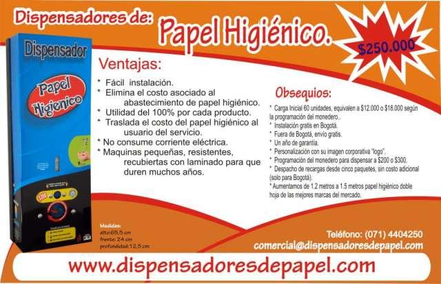 Dispensador de papel higienico con monedero. traslada el costo del papel al usuario del servicio.