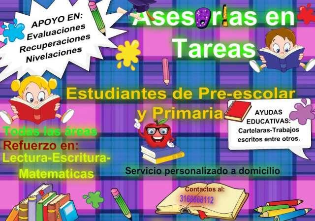 Clases y tutorías para niños en pre-escolar y básica primaria
