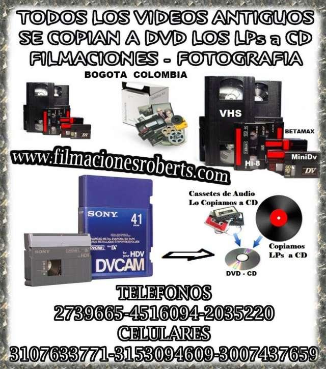 Copiamos a dvd todos los videos antiguos,filmaciones,fotos