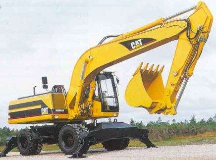 Excavadora caterpillar m318 hibrida sobre 8 ruedas alto rendimiento