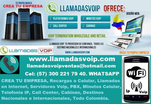 Crea tu empresa, recargas minutos celular, llamadas internet, servidores volp, pbx, telefonia ip, call center, cabinas, destinos nacionales e internacionales, todo colombia. servicios. llama a claro