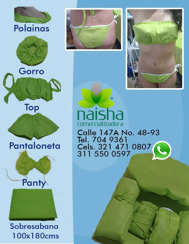Kit ropa desechable para estética panti top gorros, geles reductores,balines auriculoterapia, papel osmotico.