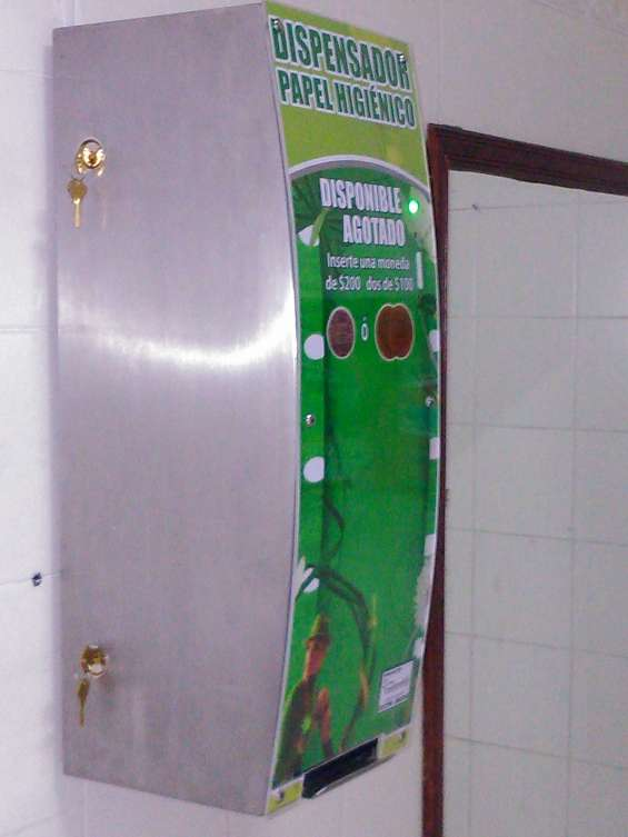 Dispensadores para papel higienico y toallas higienicas monedas