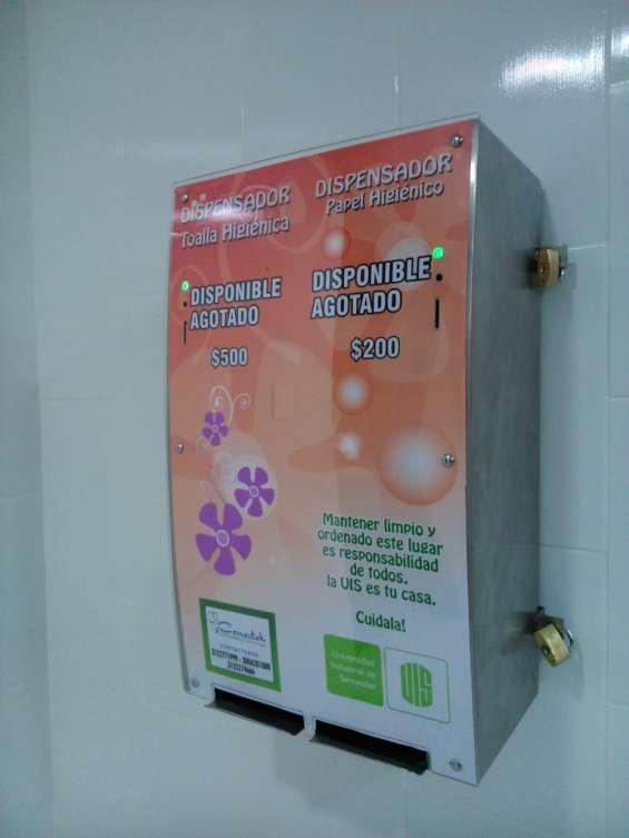 Dispensador doble para papel higienico y toallas higienicas