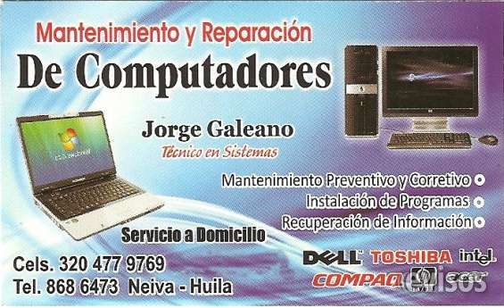 Reparacion y mantenimiento tecnico especializado de computadores
