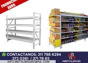 Venta de estanterias para autoservicio,supermercados,almacenes,exhibidores en colombia.