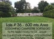 Lote # 36, area de 600 mts, ubicado en el condominio campestre sortilegio, 5 minutos de cali, info 3168337428, whatsapp, +573162965949, 3155058179, pbx 5526540