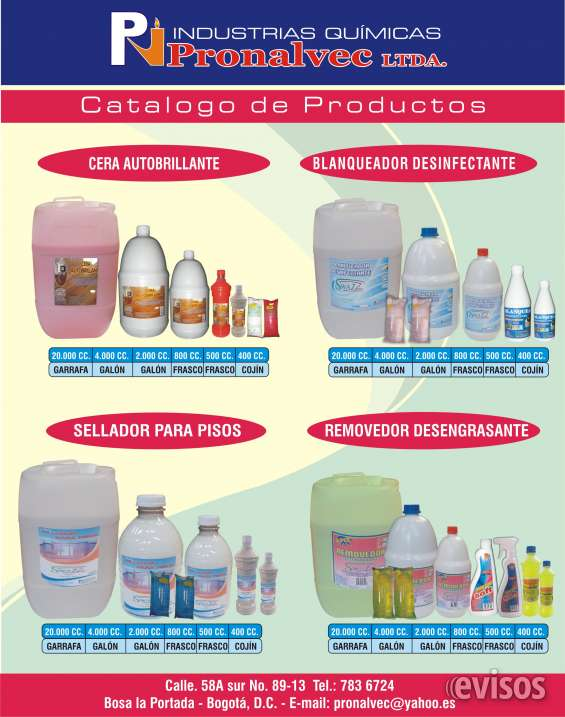 Fabricacion y distribuccion productos aseo, mantenimiento industrial