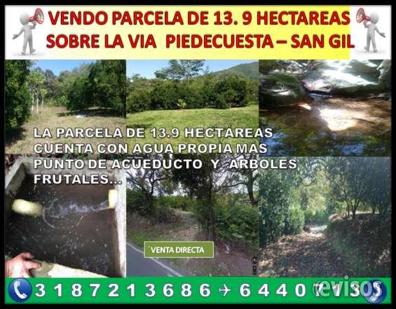 Vendo terreno 13.9 hectáreas sobre la vía piedecuesta san gil