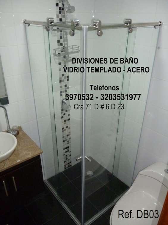 Divisiones para baño, vidrio templado, acero, acrilico